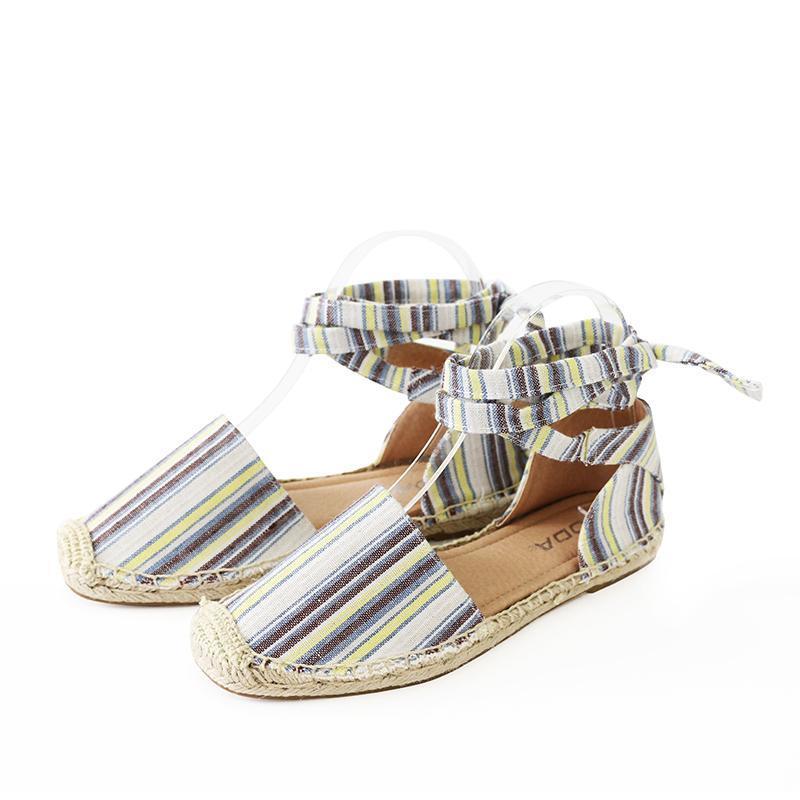 layout linen tie ankle espadrille flat sandal image 3