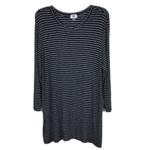 Old Navy Knit Dress Womens Size L Large Black White Striped Tunic Top Sw... - $19.97