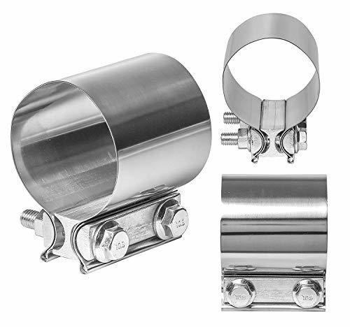 2 TOTALFLOW TF-JB56 304 Stainless Steel Butt Joint Exhaust Muffler Clamp Band