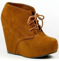 Hazelnut Brown Faux Suede Lace Up Platform Wedge Ankle Boot Bootie Soda Pager-s - $14.99