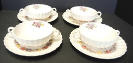 Four Copeland Spode Cream Soups With Underplates - Rose Briar Pattern - $47.49