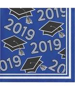 Class of 2019 Blue Black 36 ct Value Size Graduation Beverage Napkins - $4.19
