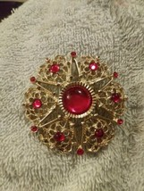 """SARAH COVENTRY """"Serenade""""Gold tone  Pin Lucite Red Cabochon & Rhinestones - $25.00"""