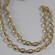 18K YELLOW WHITE GOLD CHAIN MINI 2 MM ROLO OVAL MIRROR LINK 15.75 MADE IN ITALY image 3