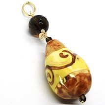 18K YELLOW GOLD PENDANT, SMOKY QUARTZ POTTERY CERAMIC DROP HAND PAINTED IN ITALY image 2