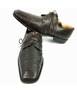 Men's MARIO CORTI Genuine Lizard Brown Leather Oxfords Made In Italy Siz... - $81.18