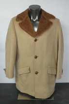 Mens Sir Pendleton Brown 3 Leather Button Coat Sherpa Lined Wool Size La... - $59.39