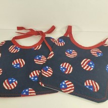 Lot of 2 new handmade red white blue patriotic smiley face Bibs homemade - $9.90