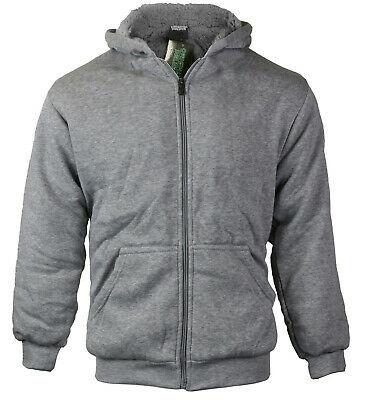 Boys Kids Athletic Soft Sherpa Lined Fleece Zip Up Hoodie Sweater Jacket - M