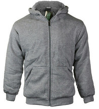 Boys Kids Athletic Soft Sherpa Lined Fleece Zip Up Hoodie Sweater Jacket - M