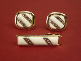 Vintage Royal Tie Clip Clasp & Cufflink Set box White Glass Gold Men's J... - $6.65