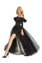 Black Pink White Slit Tulle Skirt High Waisted Full Length Slit Tulle Maxi Skirt image 2