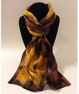 Hand Painted Silk Scarf Chocolate Chestnut Brown Gold Ladies Head Neck N... - £40.98 GBP