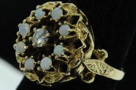 Art Nouveau Style (ca. 1950) 14K Yellow Gold .25ct Diamond and Opal Ring... - $590.00