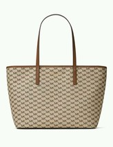 Michael Kors Large Emry Top Zip Tote Natural/Luggage MK Signature Purse $328 NWT - $127.39