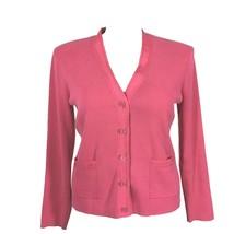 Talbots Large Cardigan Sweater Salmon Pink Heavy Knit Ribbon Trim Long S... - $2.95
