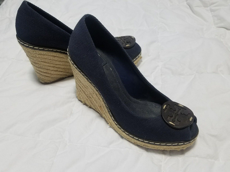 41d42eea29 S l1600. S l1600. Previous. Tory Burch Womens Blue Canvas Peep-Toe Rope Platform  Wedges Heels ...