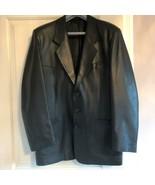 EUC UNBRANDED Black Leather Blazer SZ XL - $78.21