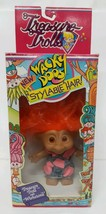 Vtg 90s Treasure Troll Belly Button Wishstone Wacky Doos Overall Blue Je... - $21.37