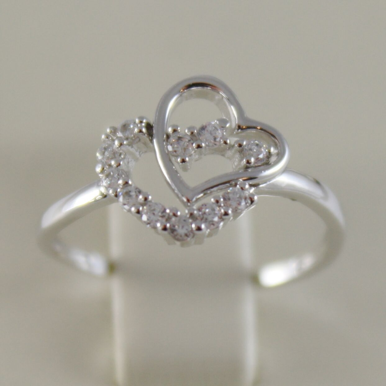 SOLID 18K WHITE GOLD BAND DOUBLE HEART RING LUMINOUS WITH ZIRCONIA MADE IN ITALY