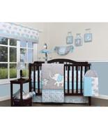 Blue Gray Elephant 13 pcs Crib Bedding Set Baby Boy Nursery Quilt Bumper... - $171.17