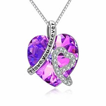 """Sterling Silver""""I Love You Forever"""" Heart Pendant Necklace with Swarovsk... - £57.17 GBP"""