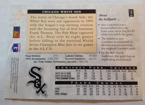 1994 Upper Deck #284 Frank Thomas Chicago White Sox Baseball Card