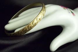 MONET FROSTY Gold Plated BANGLE Bracelet Embossed Vintage Designer Signed - $14.84