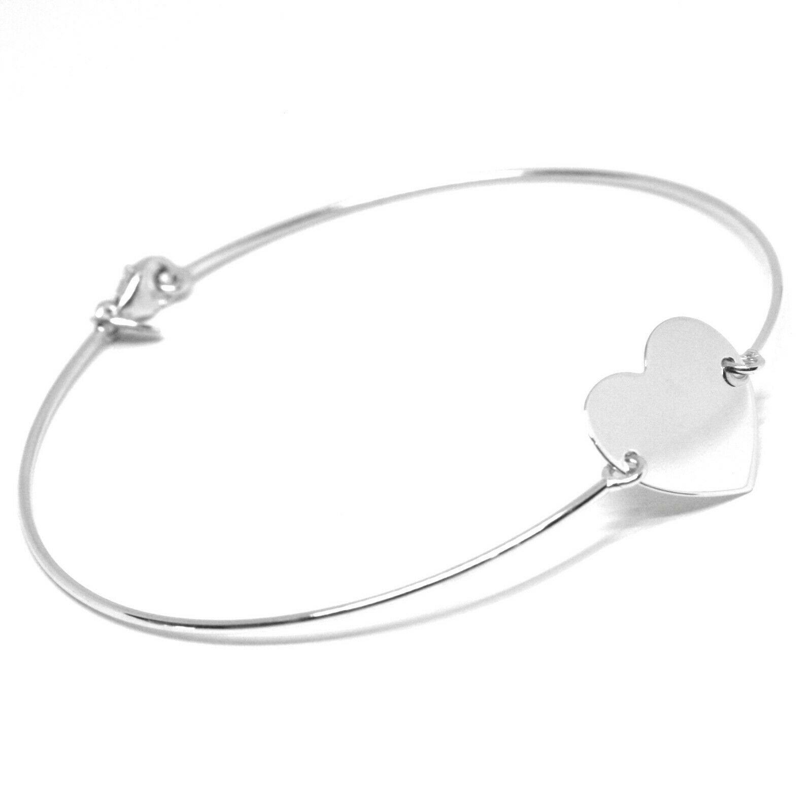 Mini Bracelet Yellow or White Gold 750 18K, Semi Rigid, Heart Centre Plate