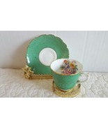 Vintage green small cup and saucer set gold flowers made in Japan tea co... - $14.99