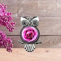Pink Rose Owl Pendant - $14.95