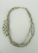 Vintage Costume Jewelry, Silver Tone Off Center Statement Necklace, Meta... - $18.57