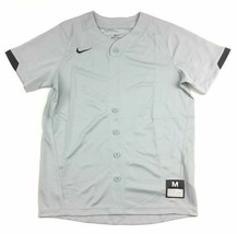 New Nike Dri-Fit Short Sleeve Single Button Jersey Baseball Boy's M Gray... - $10.29