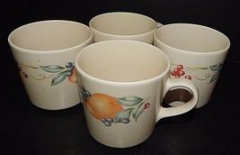 4 Corelle Coordinates Stoneware Abundance Fruit Pattern Coffee Tea Mugs ... - $24.74