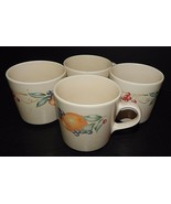 4 Corelle Coordinates Stoneware Abundance Fruit Pattern Coffee Tea Mugs ... - $24.74