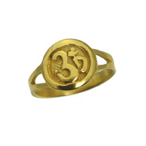 24K Gold Plated Hindu Om Ring Beautiful Jewelry Pick Size Buddhism Yoga New - $26.74