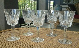 """5 Lot Waterford Crystal Lismore Claret Wine Glasses Ireland 5 7/8"""" Mint - $93.00"""