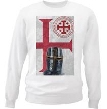 Knight Templar Face - New White Cotton Sweatshirt - $33.11