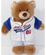 Build Bear Workshop BROWN TEDDY BEAR WITH BASEBALL UNIFORM Stuffed Plush... - $17.81
