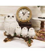 """Ebros White Owl Perching On Tree Branch With 3 Baby Owlets Statue 10.25""""... - $36.99"""