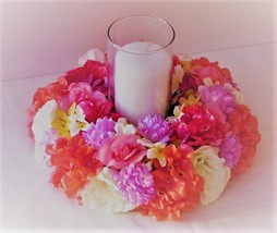 Wedding centerpiece tropical candle ring silk flower wedding flower cent... - $32.00