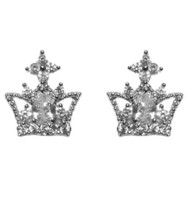 The Look Of REAL-CROWN Clear Cz Stud Earring -BRIDAL - $21.78
