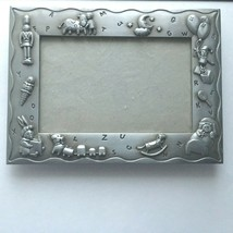 "Vintage Malden  Baby ABC  Pewter Picture Frame 8X 6"" Photo 3X5"" Baby Room  - $14.60"