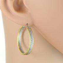Sleek Textured Tri-Color Silver, Gold & Rose Tone Hoop Earrings- United Elegance - $15.99