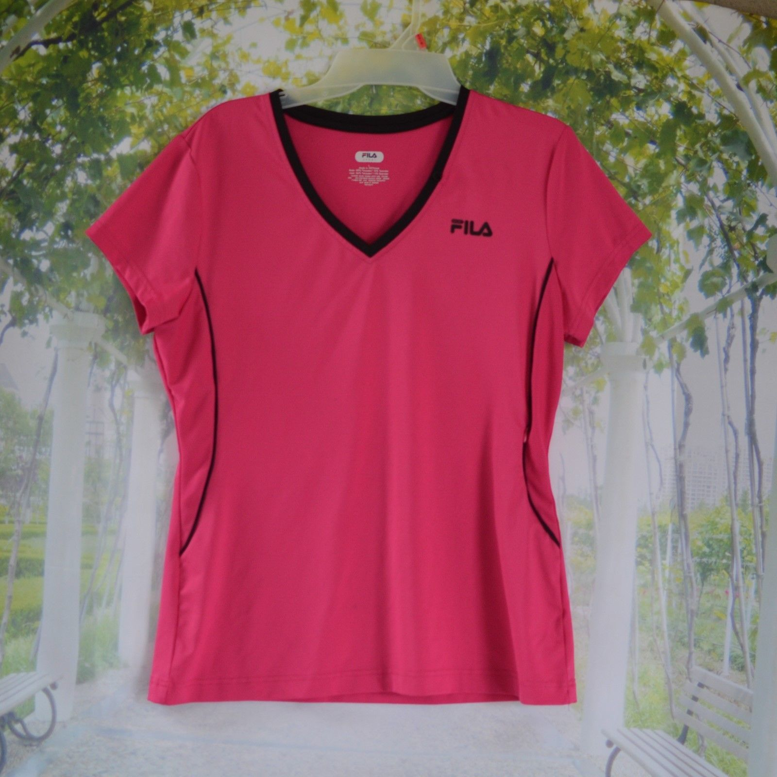 Primary image for FILA Sport Womens Sport Top Hot Pink Athletic Tee T-Shirt Sz L