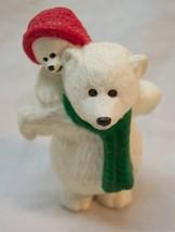 "Hallmark 1990 Merry Miniatures POLAR BEAR DAD & CHILD 21"" Plastic MINI F... - $16.34"