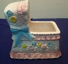 """Vintage Ceramic INARCO Baby Bassinet 6"""" Planter E-5433 PRETTY - $19.15"""