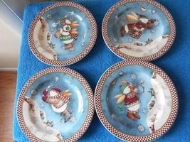 Sakura Salad Plate Debbie Mumm Snow Angel Village Set of 4 2001 Cute Lovely - $16.61