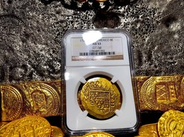 MEXICO 1720/19 DATED GOLD 8 ESCUDOS NGC 53 POP 1 SHIPWRECK PIRATE TREASU... - $14,500.00