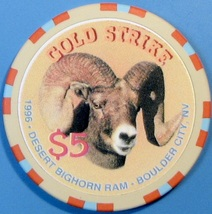 $5 Casino Chip, Gold Strike, Boulder City, NV. Bighorn Ram, 1996. V14. - $5.99
